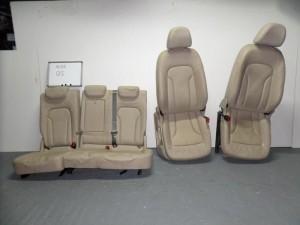 Audi Q5 2008-2017 σέτ καθίσματα εμπρός-πίσω με airbag μπέζ (κονσόλα-δερμάτινα)