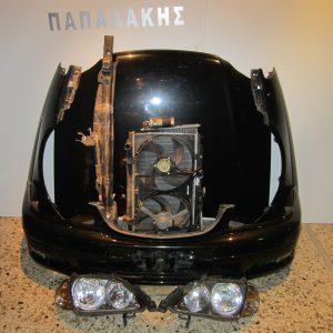 Μετωπη-μουρη εμπρος κομπλε Toyota Avensis 2000-2003 μαυρο (καπο-2 φτερα-προφυλαχτηρας-τραβερσα-ψυγεια κομπλε-2 φαναρια-μασκα)