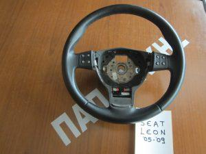 Βολάν τιμονιού Seat Leon 2005-2009 με χειριστήρια μαύρο δέρμα