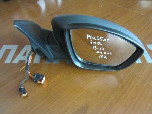 Peugeot 308 2013-2017 καθρέπτης δεξιός ηλεκτρικά ανακλινόμενος μαύρος ματ